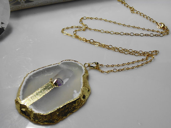 Druzy and Amethyst Gemstone Necklace
