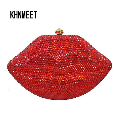 Red Lips Crystal Clutch
