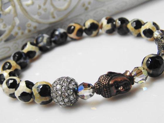Buddah and Agate One Bead Bracelet