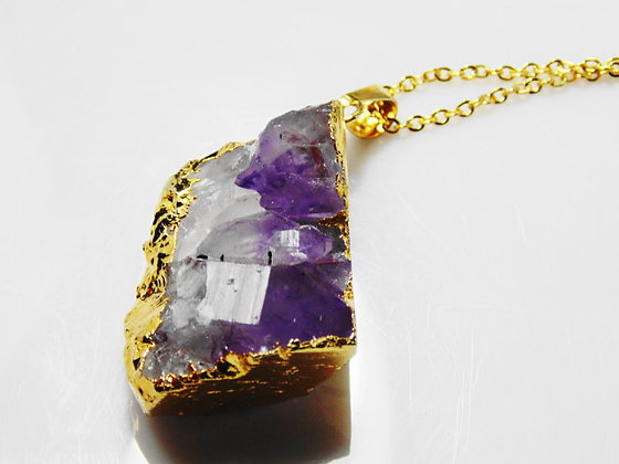 Amethyst Rock Beaded Chain Necklace