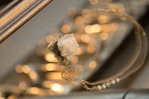 White Druzy Crystal Necklace