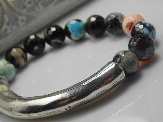 Agate Tube Gemstone Bracelet