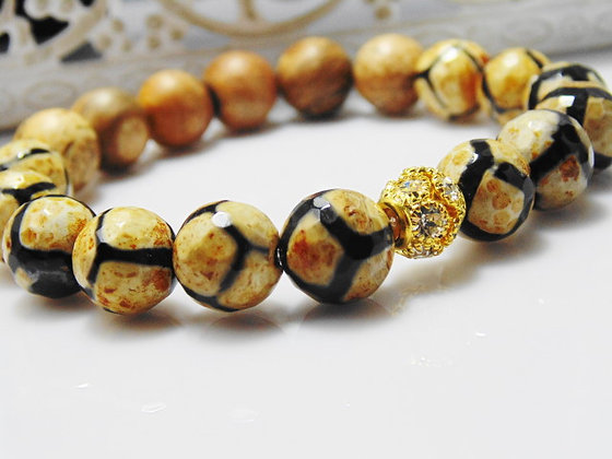 Agate and Gold Two Toned Bracelet