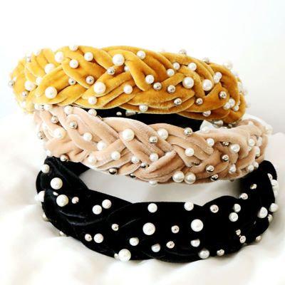 Wide Pearl Velvet Headband
