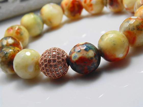 Terra Cotta Agate Pave One Bead Bracelet