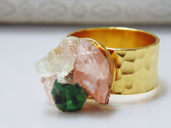 Emerald and Morganite Gemstone Ring