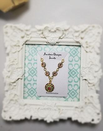 Antique Floral Droplet Necklace
