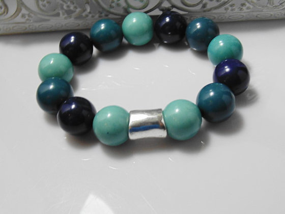 Mens Chunky Blue Beaded Bracelet