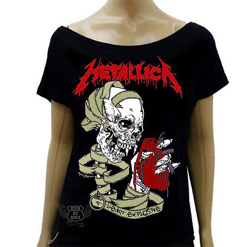 Blusinha de Ombro Caído Metallica Heart Explosive