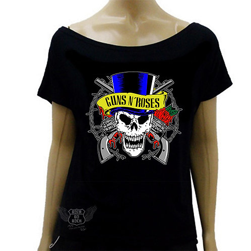 Blusinha Ombro Caído Guns N' Roses Skull