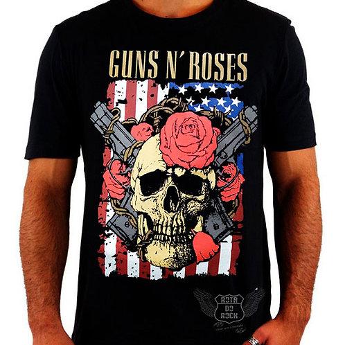 Camiseta Guns N' Roses Skull Flag