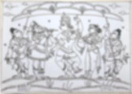 Krishna Lifting Mount Govardhan