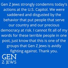 A statement by Gen Z Jews on Janurary 6th 2020.