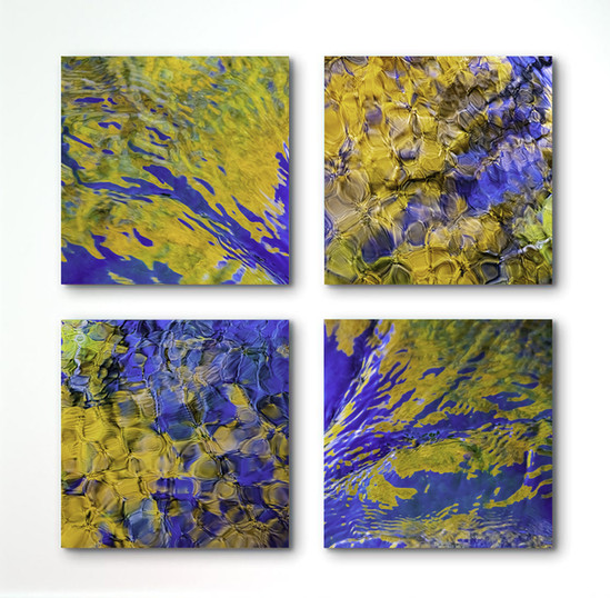 Square Blue and Yellow Water Quadtych