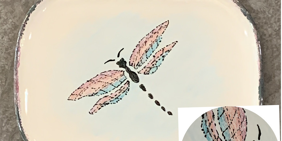 Pottery Painting Class:  Textured Dragonfly