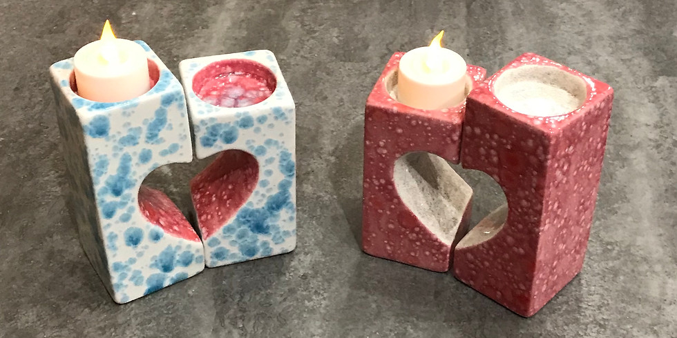 Pottery Painting Class:  Heart Tealight Holders
