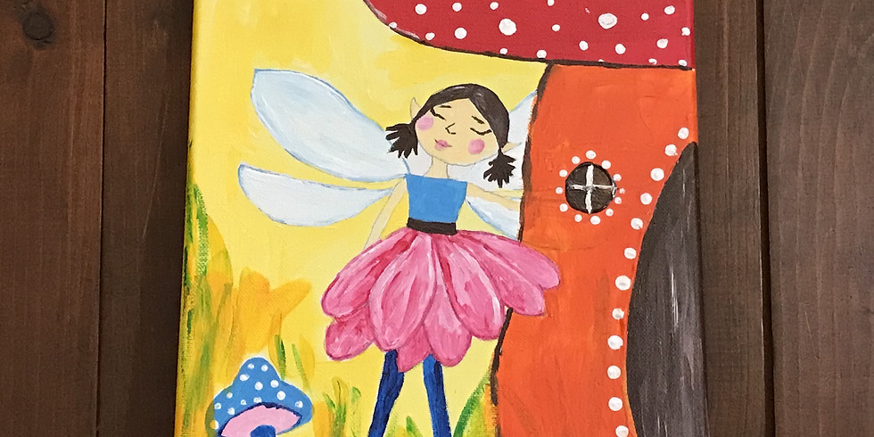 Kids' Canvas Painting Class:  Springtime Is Here Fairy