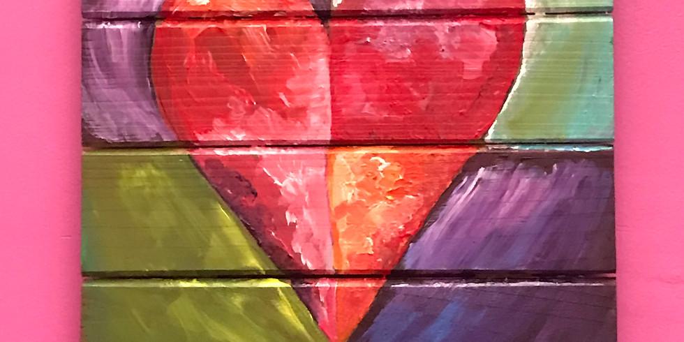 Kids' Pallet Painting Class:  Quadrant Heart