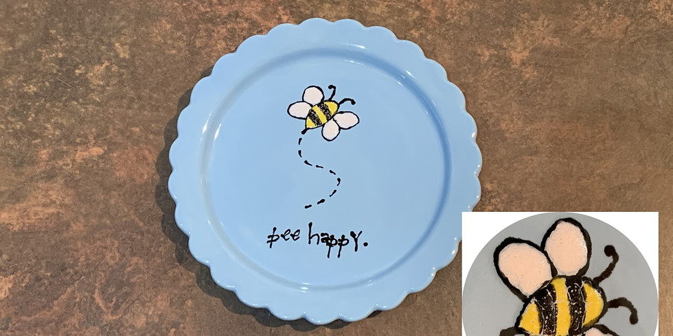 Adult & Child Pottery Painting Class:  Bee Happy Plate