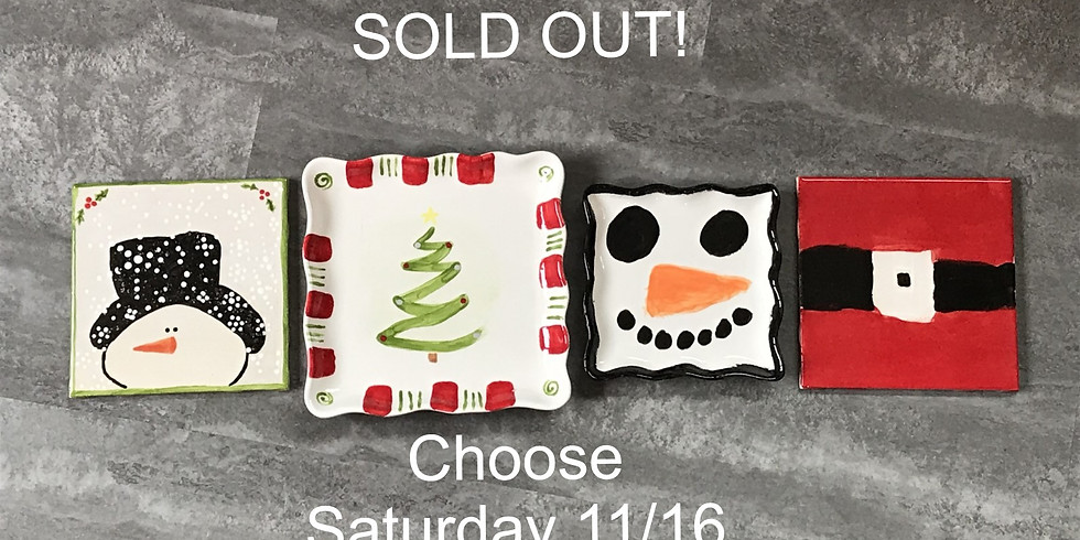 Adult & Child Pottery Painting Class:  Holiday Plates