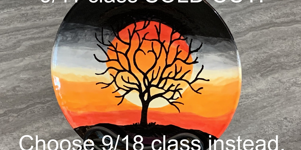 Pottery Painting Class:  Sunset Heart Tree