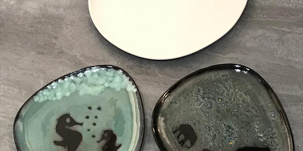 Pottery Painting Class:  Silhouette Technique