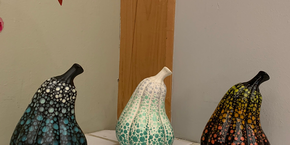 Pottery Painting Class:  Dotting on a Gourd