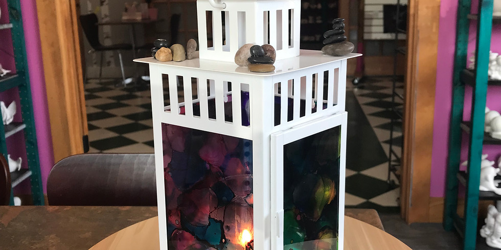 Fired Art: Stained Glass and River Stone Lantern