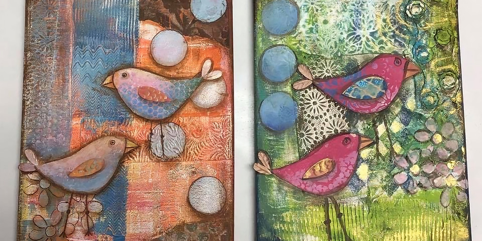 Canvas Painting Class:  Mixed Media Birds