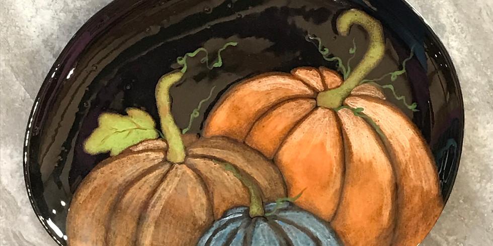Pottery Painting Class:  Pumpkin Platter