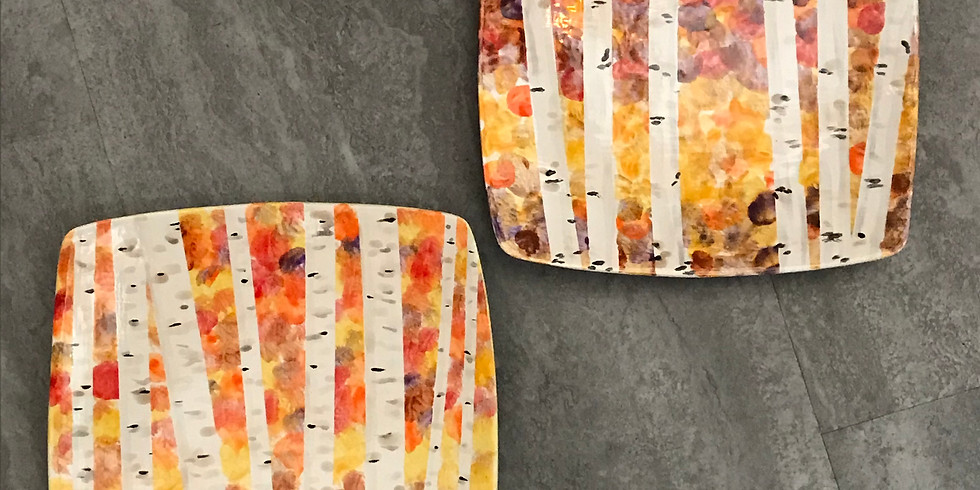 Pottery Painting Class:  Leaf-Peepin' Birches Plate