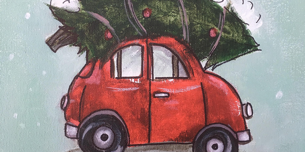Canvas Painting Class:  Christmas Tree Buggy