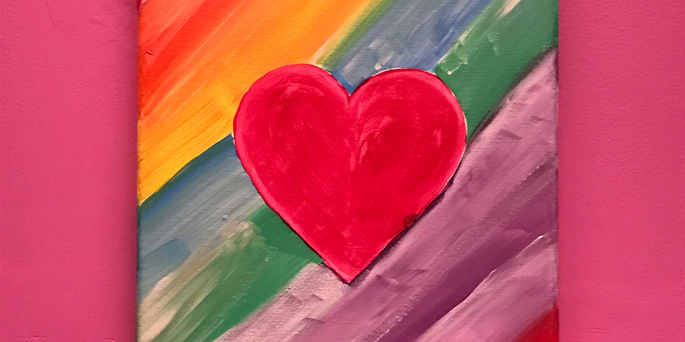 Kids' Canvas Painting Class:  Rainbow Heart