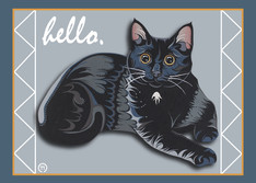Black Cat Laying Note Card