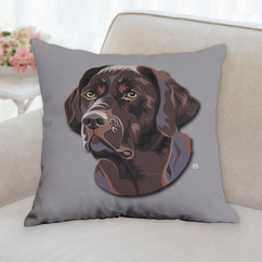 Chocolate Lab Face Pillow
