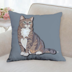 Brown Tabby Cat Pillow