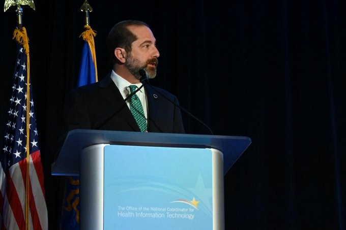 Alex Azar speaking at ONC Meeting 2020