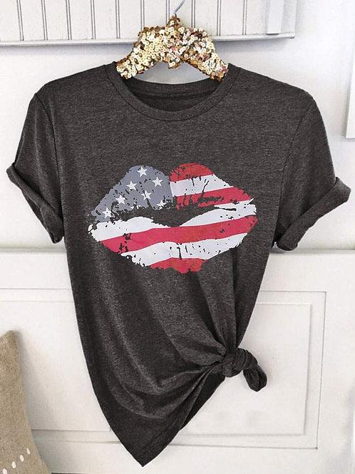 American Flag Lips Tee