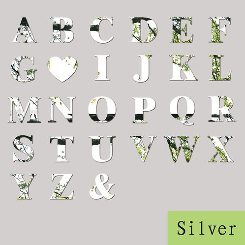Mirror Wall Sticker Decoration Silver 26 Letters