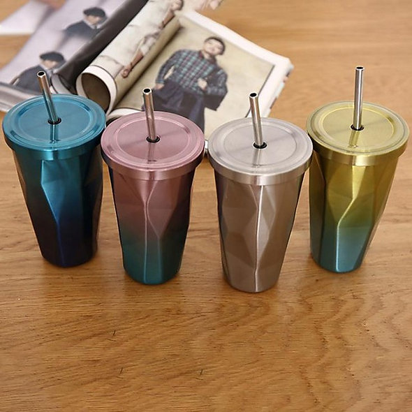 Steel Tumbler with Straw