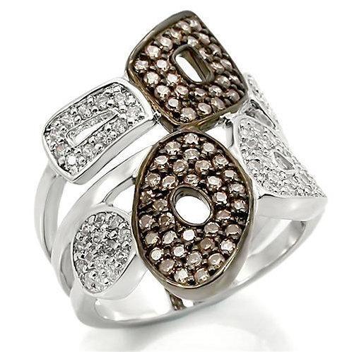 0W295 Rhodium + Ruthenium Brass Ring with AAA
