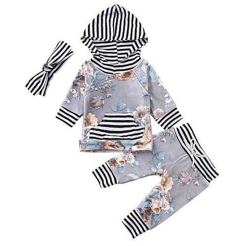 3pcs Infant Baby Girls Clothes Set Long Sleeve