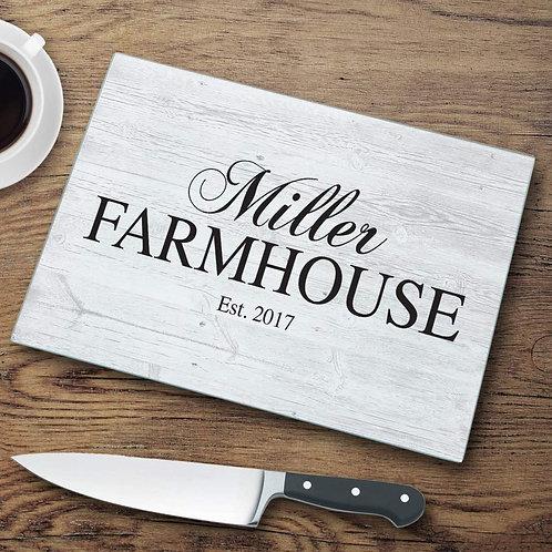 Family Farmhouse Glass Cutting Board