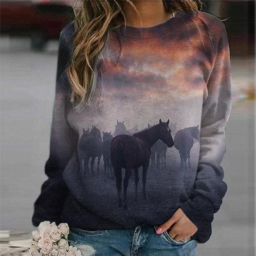 Variety Horse Print Sweatshirt