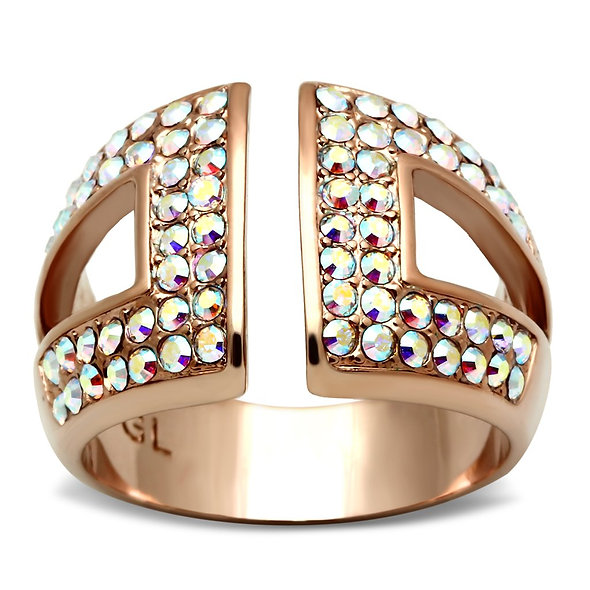 GL222 IP Rose Gold(Ion Plating) Brass Ring with