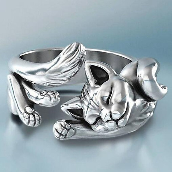 Silver Alloy Cat Ring
