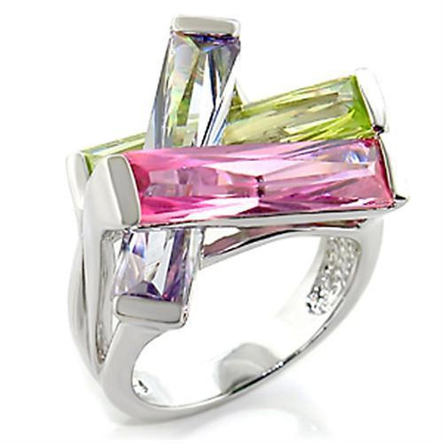 6X004 Rhodium Brass Ring with AAA Grade CZ in