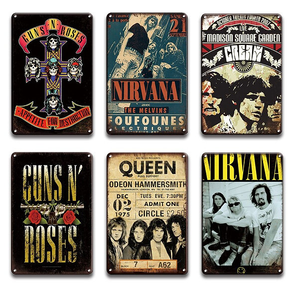 Rock N Roll Metal Poster Tin