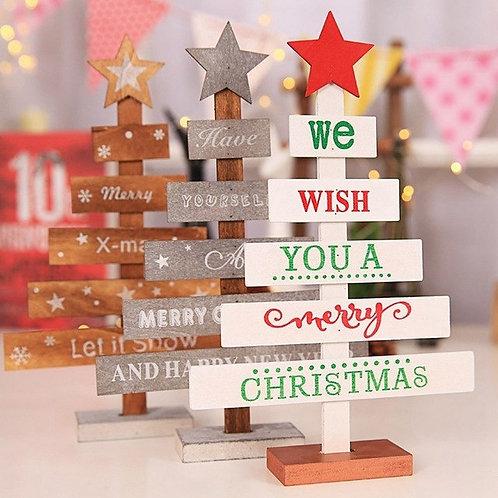Mini Wooden Merry Christmas Tree Desk Table Decor