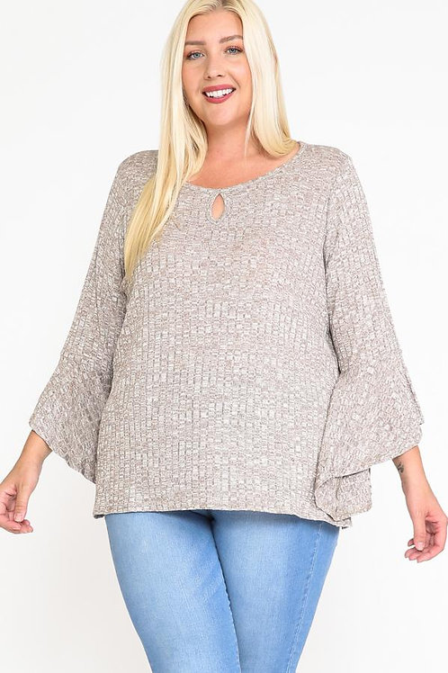 Front Keyhole 2tone Rib Fabric 3;4 Bell Sleeve Top
